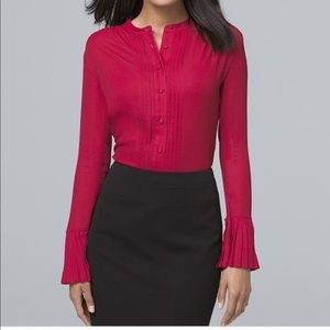 NWT! WHBM Pleat Cuff Button Front Blouse in Red